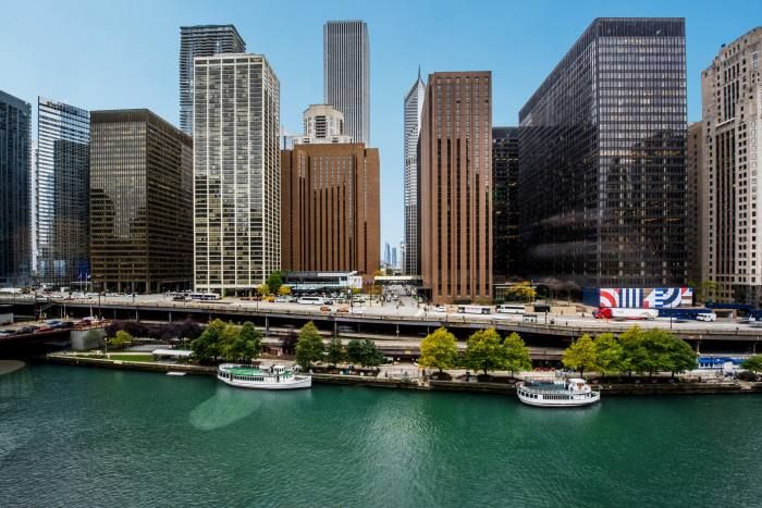 The Hyatt Regency hotel (centre) on the Chicago river. The chain was founded by the city's Pritzker family