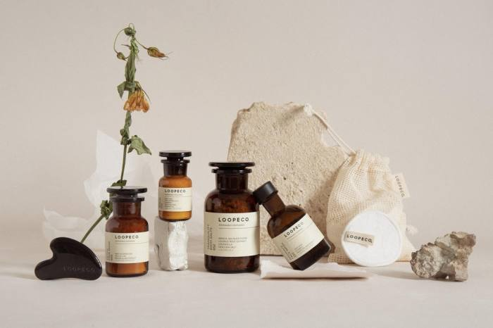 Loopeco skincare in plastic-free, compostable packaging, available from 22 April