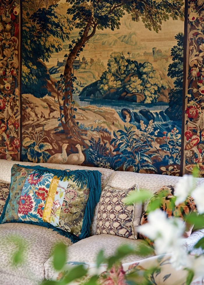 Tapestry on the walls of fashion designer Peter Copping's home in Normandy