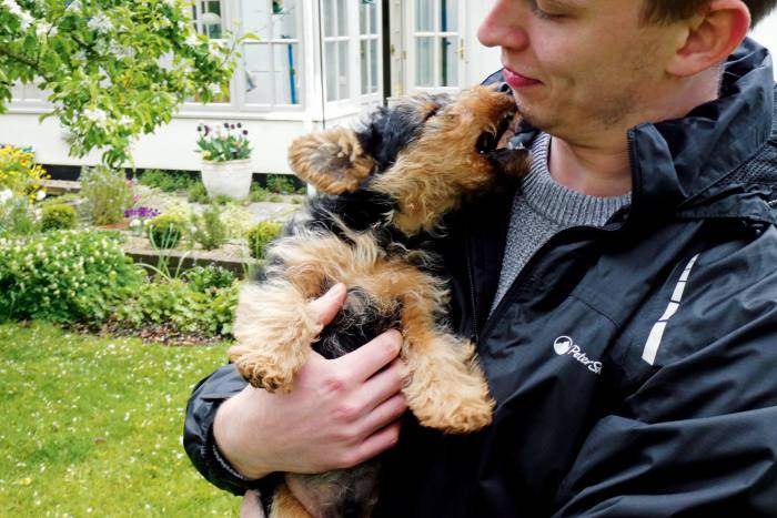 Subeditor Alexander Tyndall and his Welsh terrier Alfie