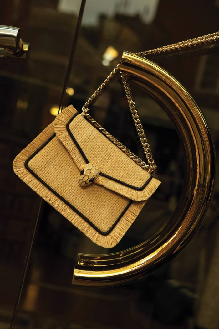 Bulgari raffia, leather, brass, enamel and onyx Serpenti Diamond Blast bag, £1,650