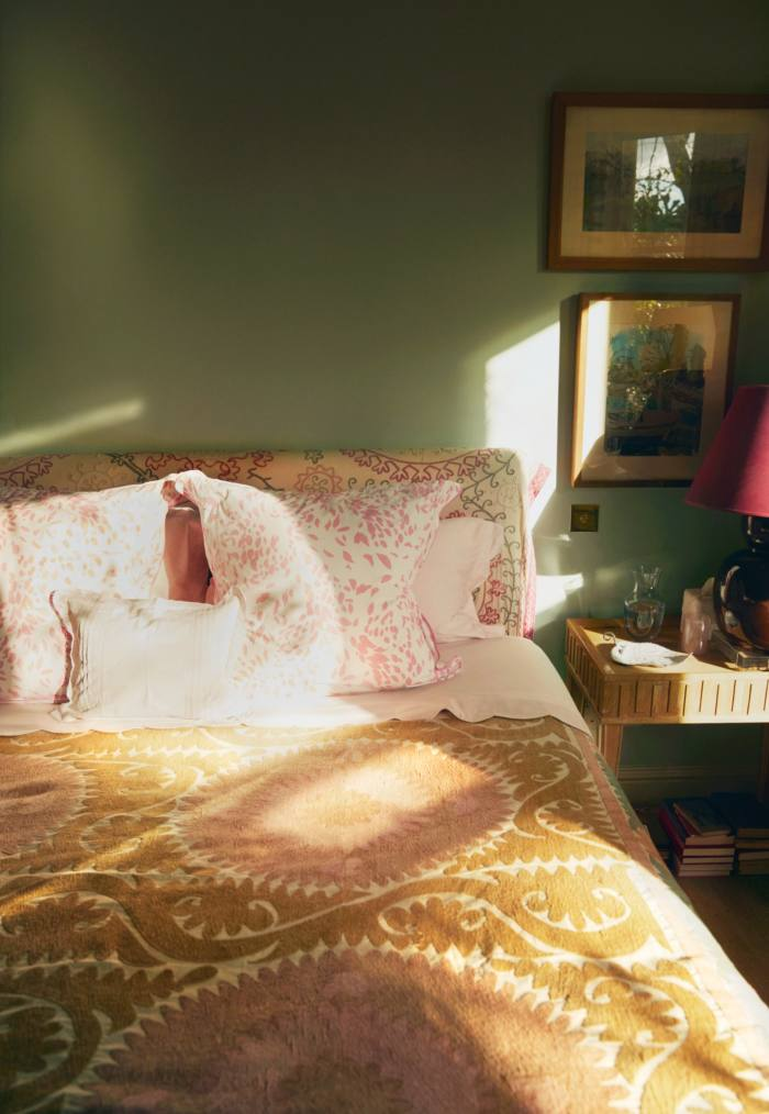 Konig's bedroom, with D Porthault pillowcases and a Nushka bedspread