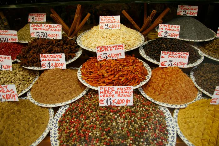 Dried fruit, nuts and spices at Mascari