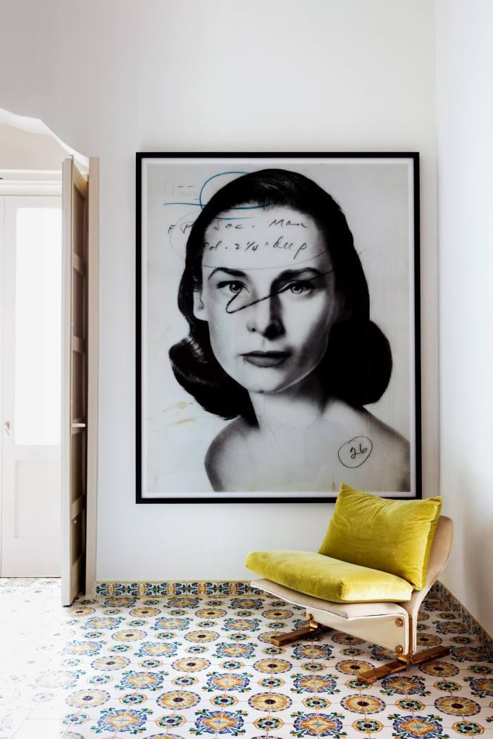 """Thomas Ruff's """"press++33.03"""" C-print, 2016, behind a 1978 Marzio Cecchi armchair"""