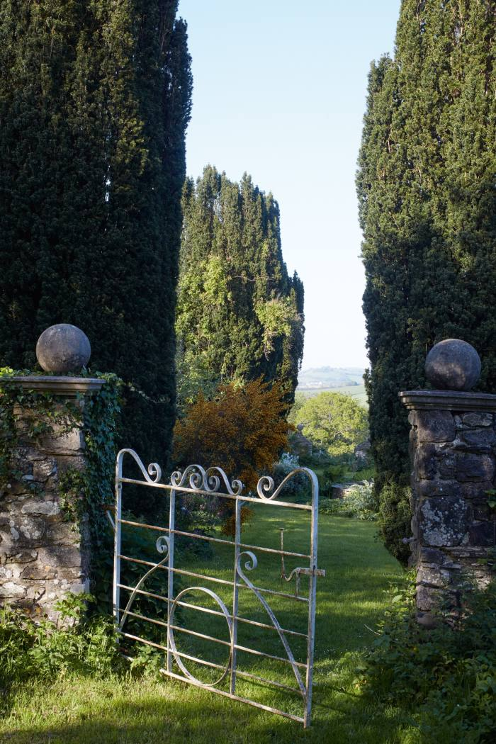 The view of the walled garden at Luscombe