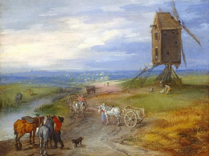 'An extensive Landscape with a Windmill' by Jan Brueghel the Elder (c.1610-12)
