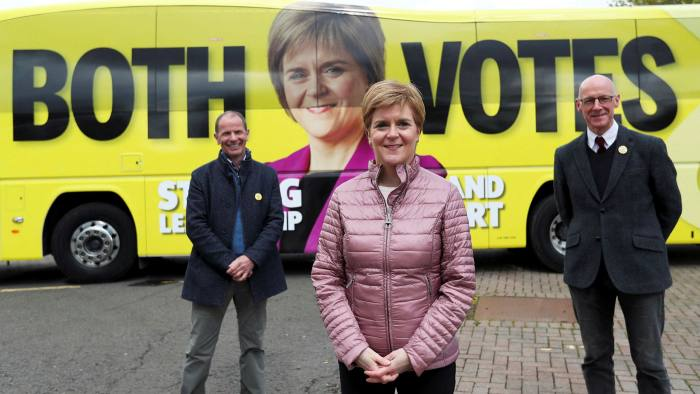 Nicola Sturgeon in Perth with SNP candidate Jim Fairlie and deputy first minister John Swinney