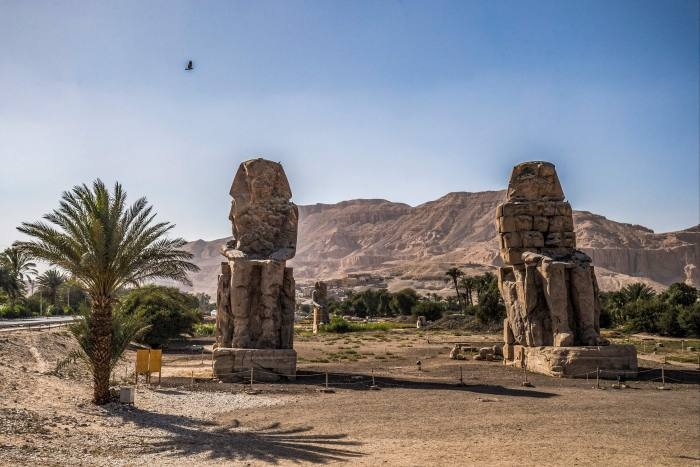 The Colossi of Memnon, near Luxor – Louboutin is a patron of an archaeological excavation at the site