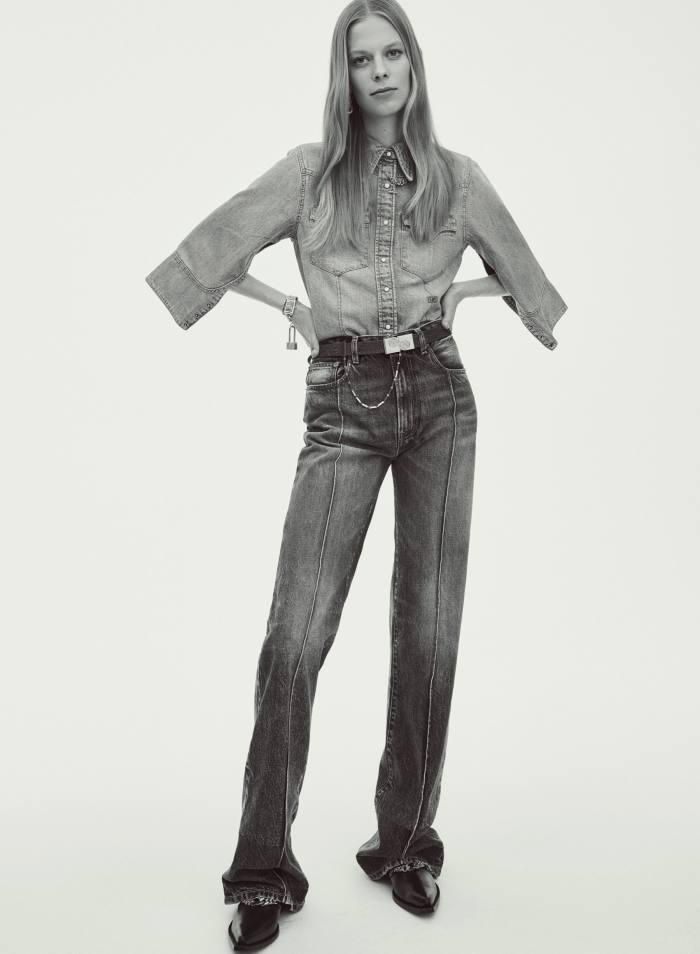 Ports 1961 x R13 denim shirt, £401, and denim jeans, £333