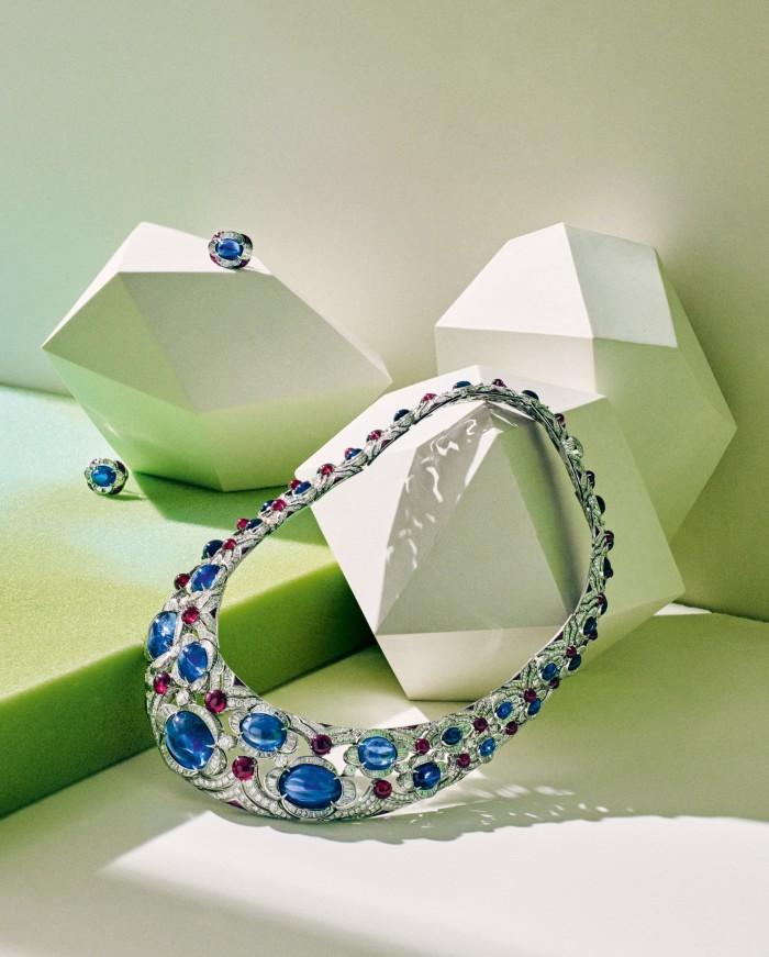 Bulgari platinum, sapphire, ruby and diamond earrings, and platinum, sapphire, ruby anddiamond necklace, all POA