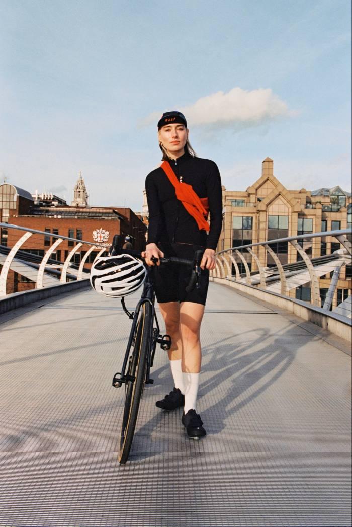 Maap x Sigma Sports cap, £25. Maap long-sleeve jersey, £120. Loro Piana cashmere and silk Leyton sweater (around shoulders), £790, mytheresa.com. Futurum Proformance shorts, €79.99. Universal Colours socks, £18, sigmasports.com. Specialized S-Works 6 shoes, £310