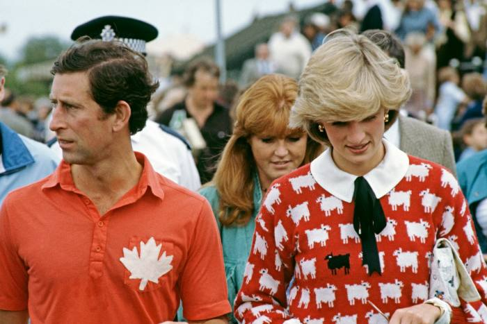Diana, Princess of Wales, Prince Charles and Sarah Ferguson attend a polo match at Windsor, June 1983