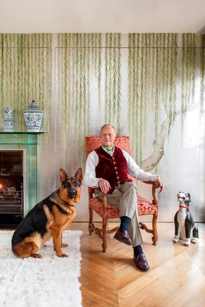 De Gournay founder Claude Cecil Gurney with his German Shepherd Mowgli