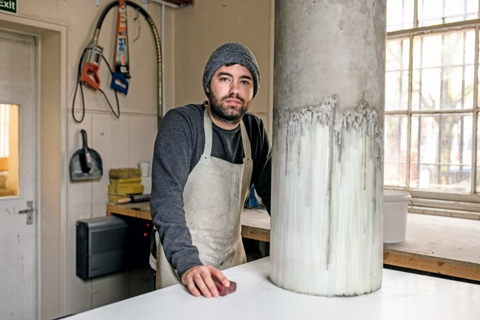 Harry Morgan in his Edinburgh workspace with his concrete and glass piece Untitled, £9,000, from richeldisfineartconsultancy.com