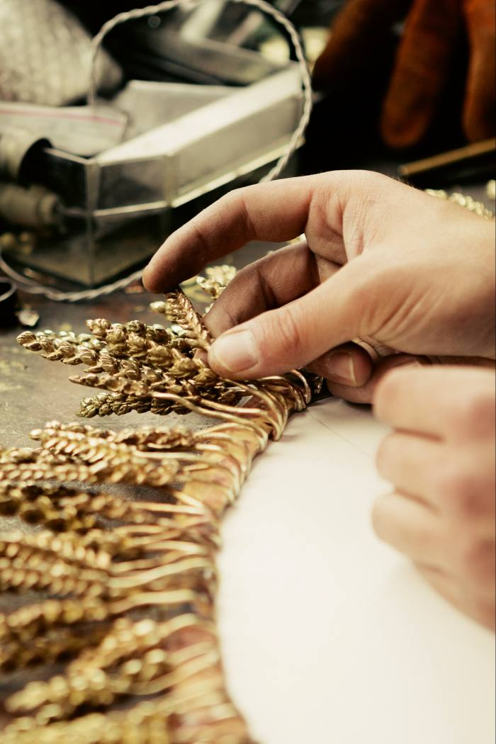 Creating the Goossens gold-plated brass Wheat mirror, with its 100 ears of wheat, £14,500