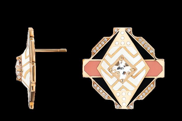 Alice Cicolini gold, topaz, diamond and lacquer-enamel Jacobean Baroque Shield earrings, £6,835