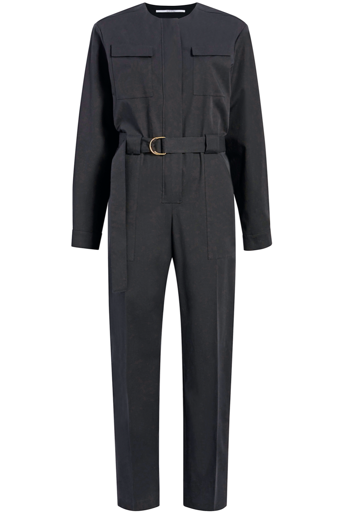 Another Tomorrow organic cotton collarless jumpsuit, $890