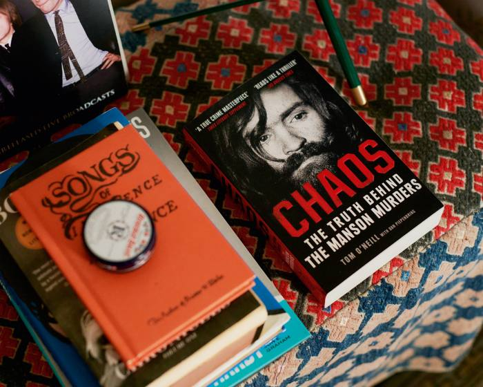 A selection of Alexa Chung's books, including Chaos by Tom O'Neill