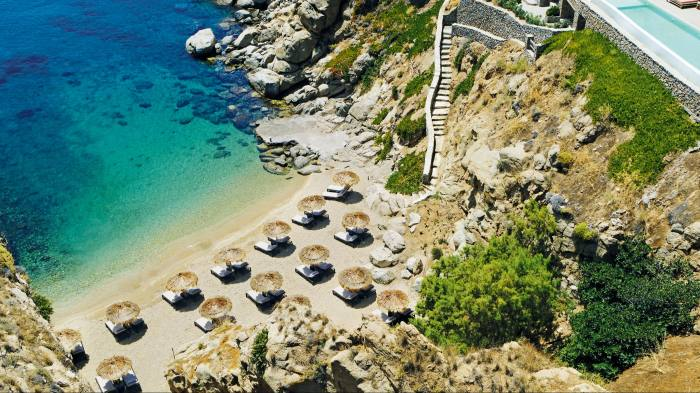 The private beach at The Wild hotel, Mykonos