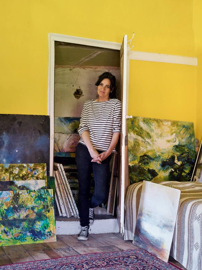 Clio David in the yellow room that her mother used as a studio, where the new artworks were found