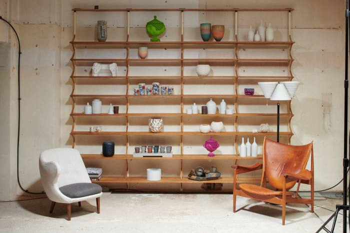Installation from Sassoon's collaboration with Modernity, featuring: shelving system designed by Bruno Mathsson for Karl Mathsson, 1950s; 'The Thumb' chair by Arne Norell for Gösta Westerberg, 1952; 'Chieftain' armchair by Finn Juhl for Niels Vodder,1949; Floor lamp A809 by Alvar Aalto for Valaistustyö, 1959