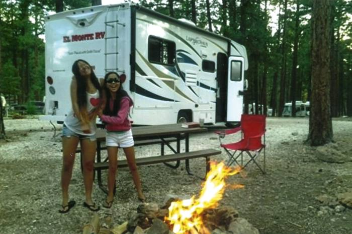 Patti's daughters, pictured camping near the Grand Canyon