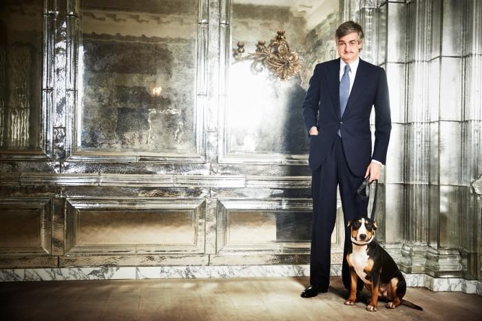 """""""My dog's name is Peg,"""" says Robin Birley, pictured here at Oswald's club in Mayfair. """"She was acquired by my wife a couple of years ago and has just had 13 puppies. The smell is quite overwhelming!"""""""