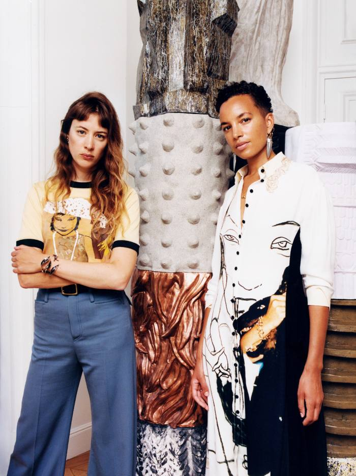 Sigrid Bouaziz, left, wearsChloé Desert Sandtop, £525, trousers, £940, andFranckie belt, POA. Phoebe Collings-James, right, wears ChloéListen dress, £3,790