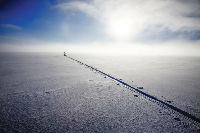 Erling Kagge crossing Vatnajökull, the largest glacier in Iceland, in 2010