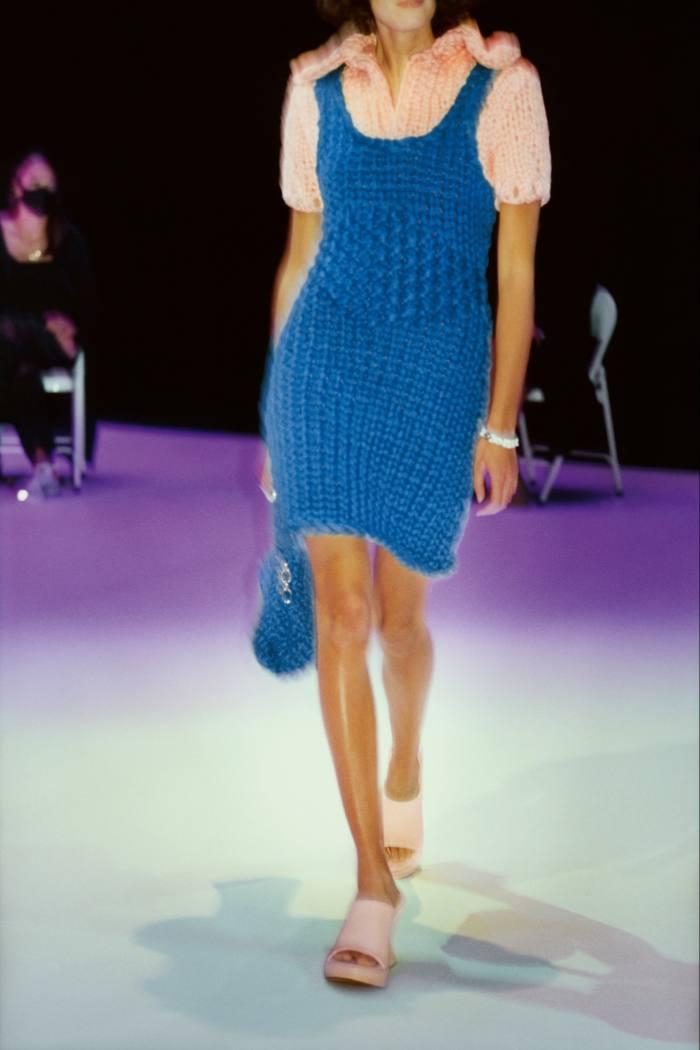 Bottega Veneta jumbo handknit dress, £2,090, and knit bag, £2,090