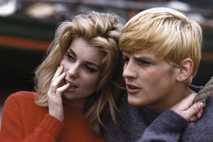 Catherine Deneuve and Jacques Perrin during the making of the 1962 film Et Satan Conduit Le Bal