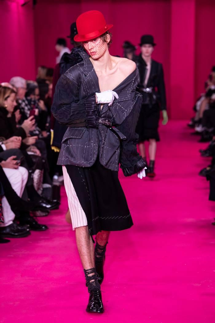 Leon Dame walking for Maison Margiela haute couture 2020