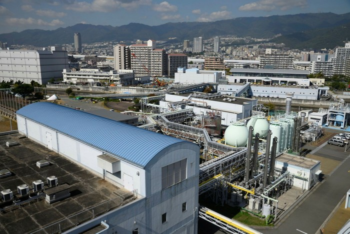 Biogas storage tanks at the Higasinada sewage treatment plant in Kobe, Japan. Converting the country's 100m-tonne-a-year steel industry to green hydrogen would require more than twice its total renewable energy supply as of today, according to BHP
