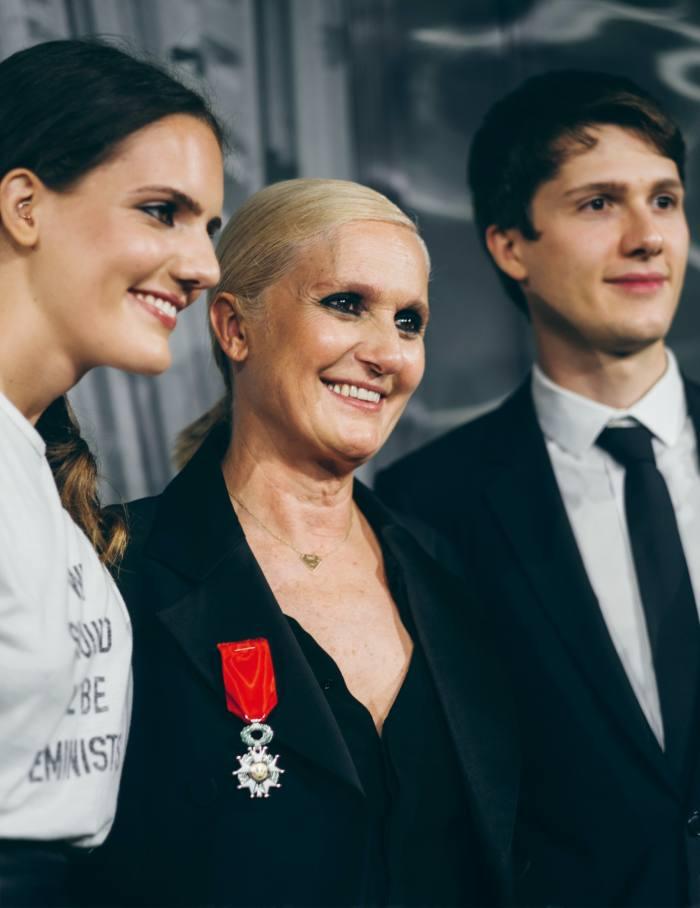 Chiuri, with her children, is awarded the Légion d'Honneur, Paris, July 2019