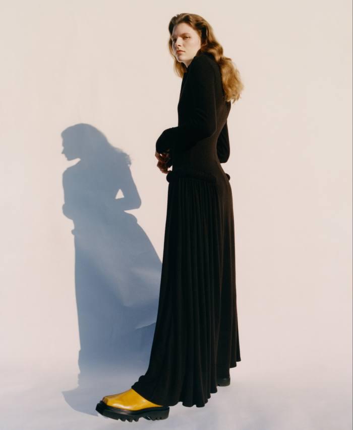 Bottega Veneta jersey dress, £2,610. Peter Do leather boots, £765