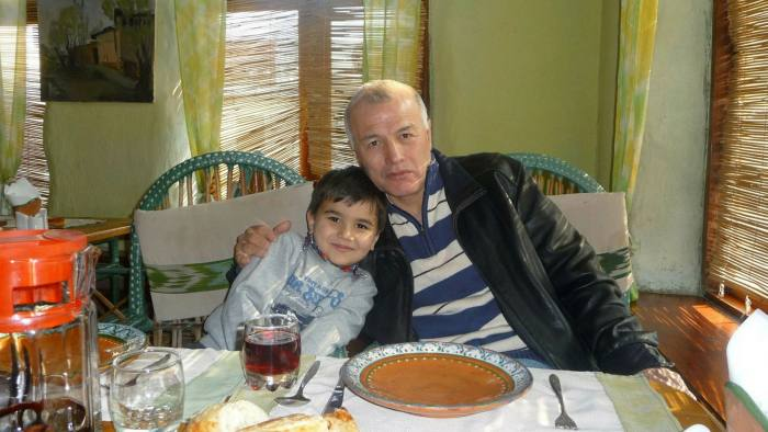 Kadyr Yusupov with his grandson: the former diplomat was convicted of treason in 2020. The UN has called for his immediate release