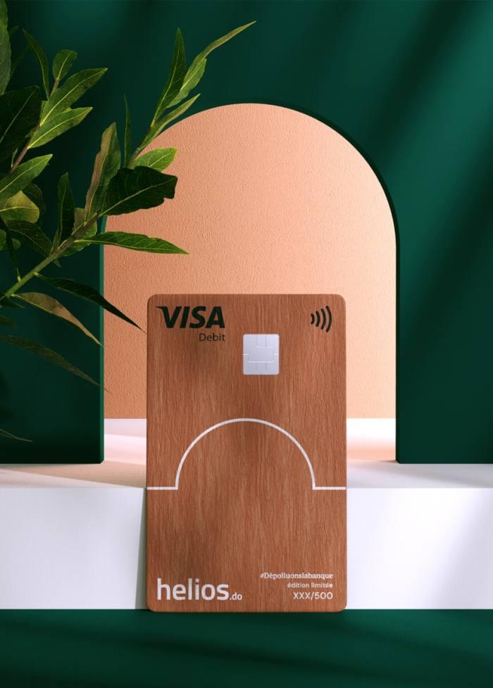 A Visa card made of cherrywood