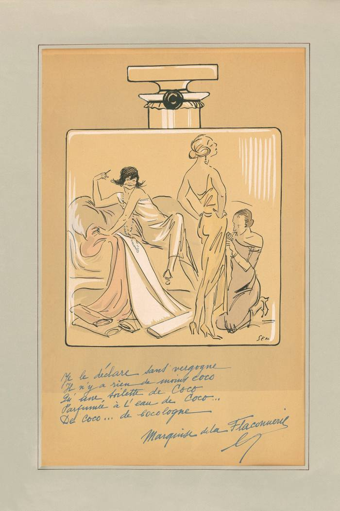 A 1923 cartoon depicting Chanel on a No 5 bottle