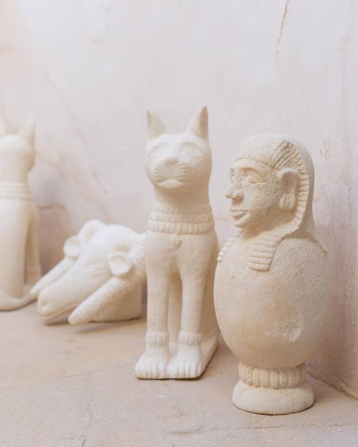 Limestone sculptures based on Barthélemy's drawings of Egyptian deities