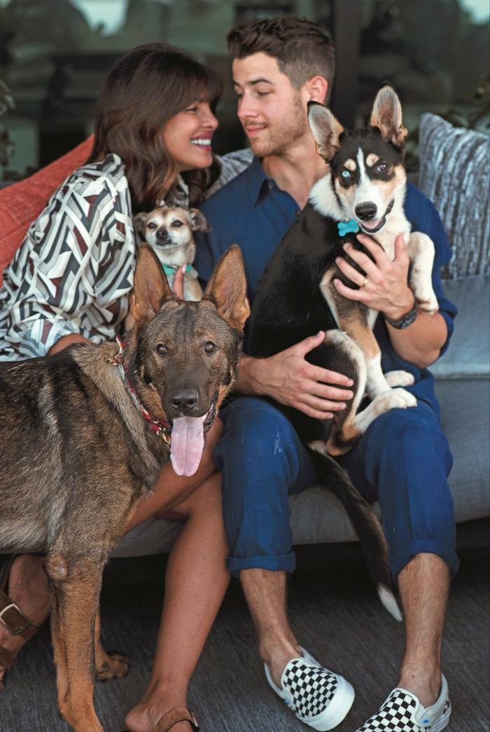 Priyanka Chopra Jonas at home with her husband Nick, and their three dogs (from left) Gino, Diana and Panda