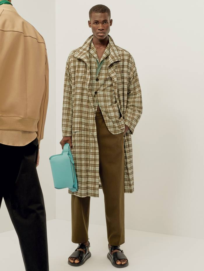Nichanian's spring/summer 2020 show played out in the courtyard of the Mobilier National, the French furniture repositoryès men's spring/summer 2020 – a palate cleanser of sportif prints and unexpected colours