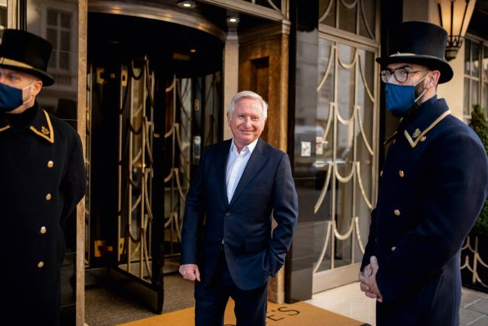 "McKillen at the entrance to Claridge's, which he says ""is as important to London as Buckingham Palace"""