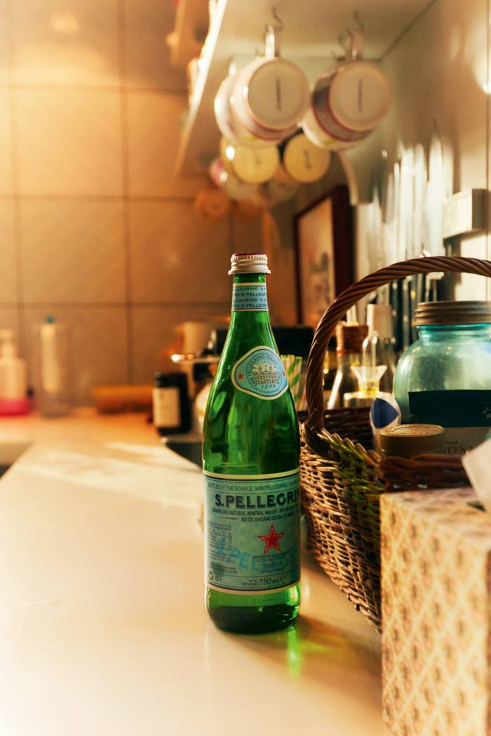 San Pellegrino water, a staple of Konig's fridge