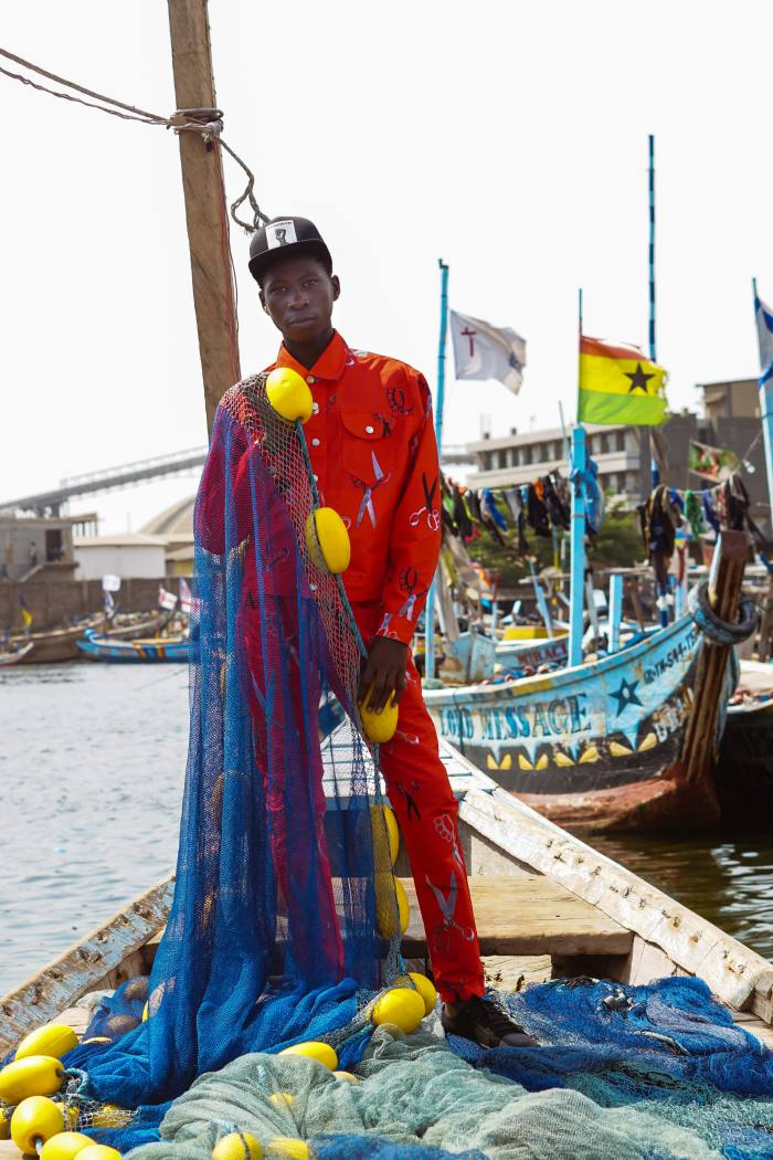 Art Comes First photographed their latest collection in Accra, Ghana, with local fishermen, tailors, taxi drivers and street vendors as models
