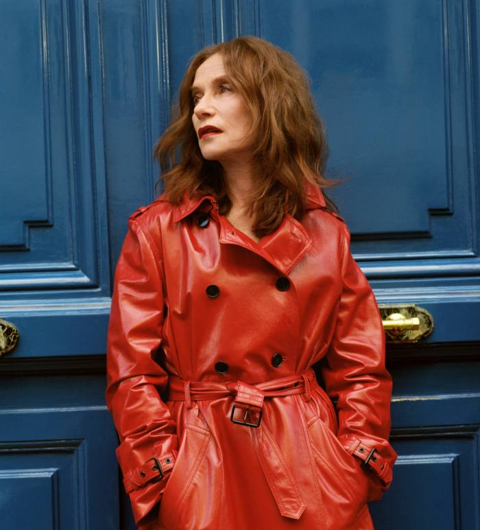 Isabelle Huppert wears Dior leather trench coat, POA