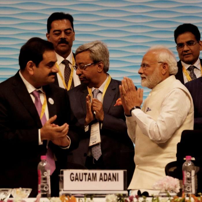 Narendra Modi with Gautam Adani and other delegates at Vibrant Gujarat Global Summit in Gandhinagar last year