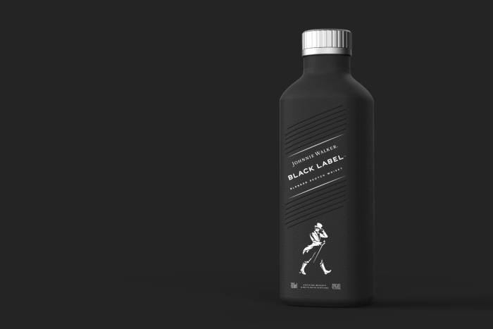 A paper Johnnie Walker whisky bottle created by Diageo