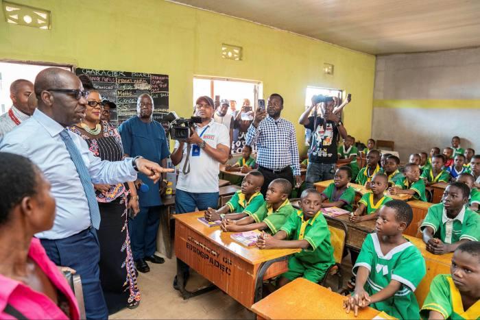 Edo State governor Godwin Obaseki on a school visit