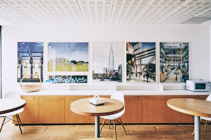 The kitchen space, with images of Renzo Piano Building Works projects around the world