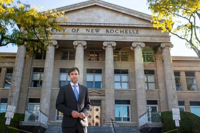 New Rochelle mayor Noam Bramson outsideCity Hall last week